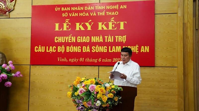 Chiều 1/6, tại trụ sở UBND tỉnh Nghệ An. Lễ ký kết chuyển giao nhà tài trợ cho Sông Lam Nghệ An đã diễn ra